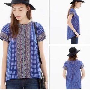 Madewell silk shirt sleeve top blouse sz XS